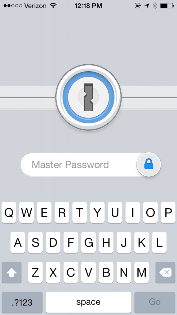 1P iOS v5 Master Password lock