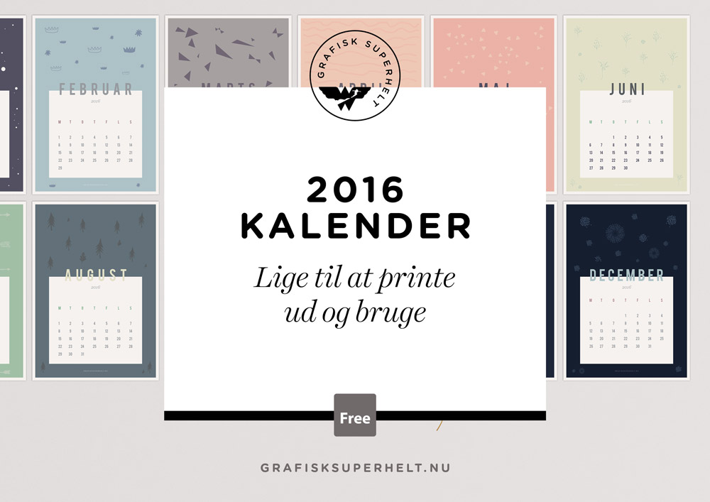 Gratis 2016 design kalender print selv for Kalender design