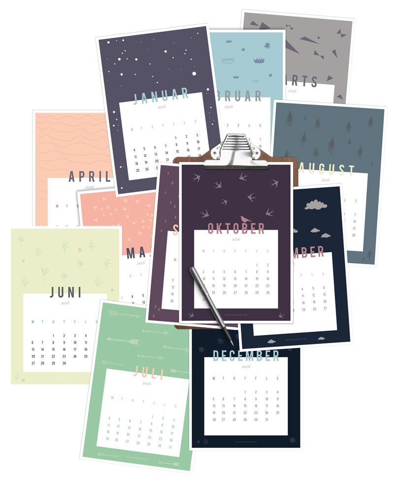 Få den fine 2016 kalender designet af grafisksuperhelt.nu