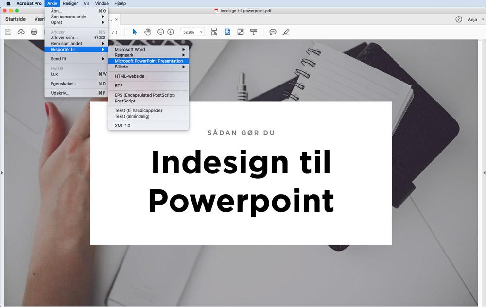 Eksporter pdf til powerpoint