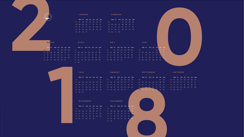 2018 kalender - klik for at downloade