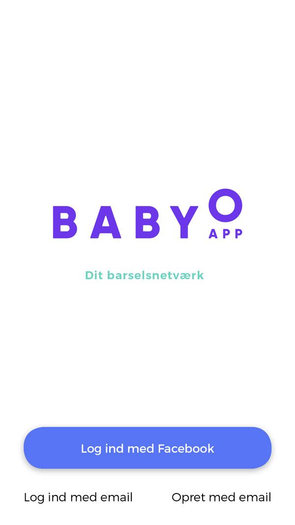 Babyo App - startskærm