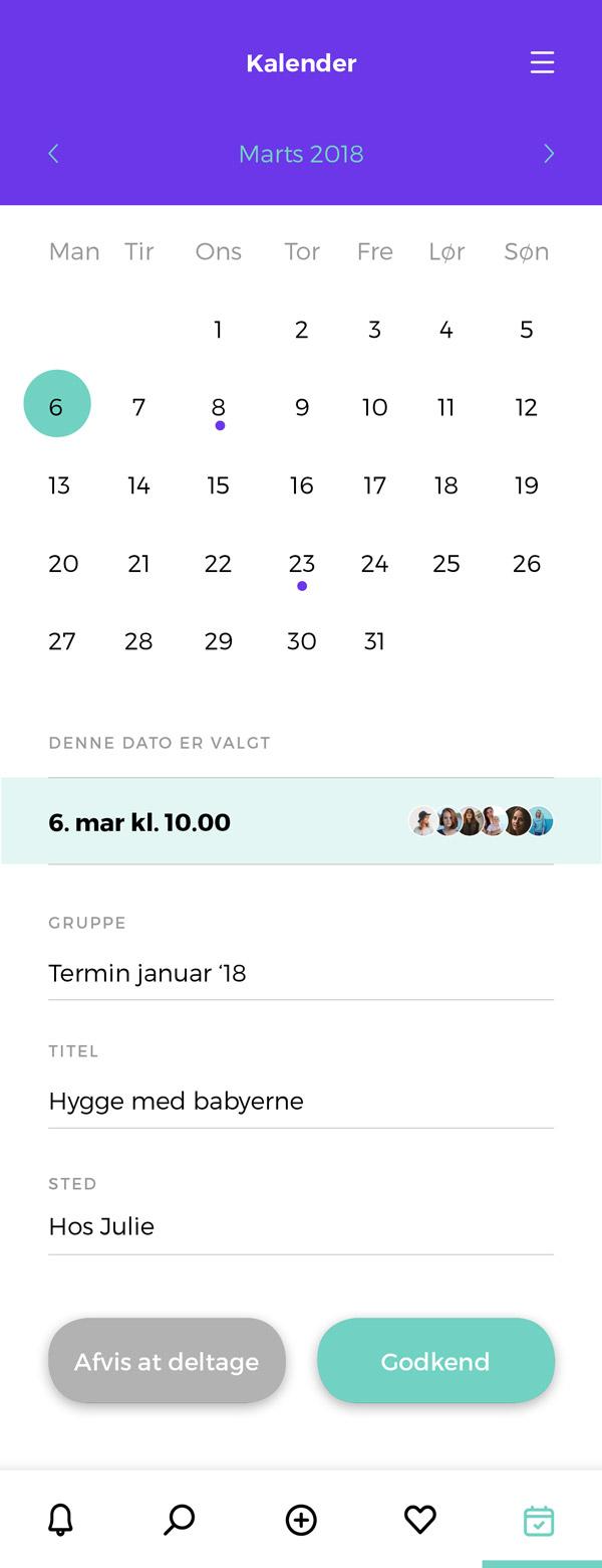 Babyo App - kalender